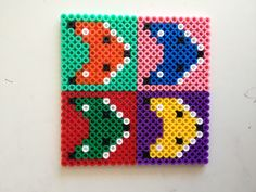 Fox hama perler beads coasters