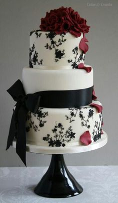 Red Black and White Wedding Cake ****But I would use Orange instead of Red***