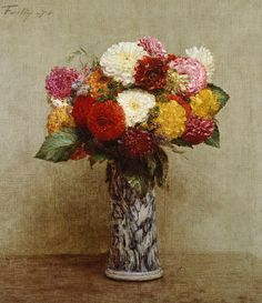 iCanvas Dahlias in a Chinese Vase, 1874 Gallery Wrapped Canvas Art Print by Ignace Henri Jean Theodore Fantin-Latour Flower Vases, Flower Art, Vase Transparent, Henri Fantin Latour, Paper Vase, Vase Shapes, Painting Still Life, All Art, A4 Poster