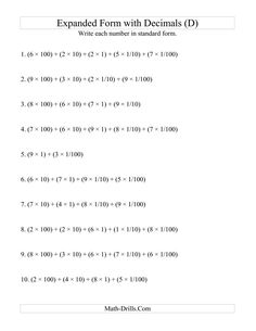 The Convert from Expanded to Standard From (3 digits before decimal; 2 digits after) (D) Math Worksheet from the Decimals Worksheets Page at Math-Drills.com.