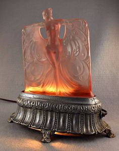 Art Deco nude dancer table lamp – McKee Glass Company 1920's                                                                                                                                                                                 More