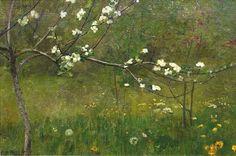 Wacław Szymanowski (Polish, 1859-1930),Blooming Apple-Tree. Oil on canvas, 54 x 82cm. Private collection.