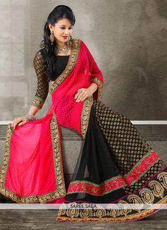 Alluring Magenta and Black Applique and Patch Border Work Faux Chiffon Saree