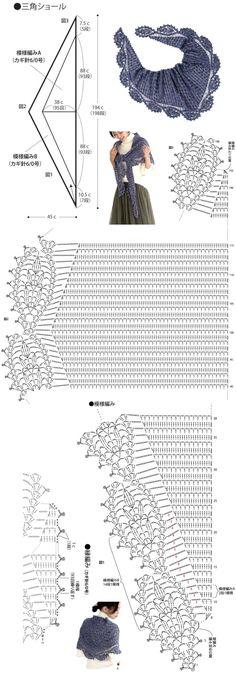 예쁜 코바늘 삼각숄 도안 Crochet Diagram, Crochet Chart, Crochet Motif, Crochet Lace, Crochet Stitches Patterns, Crochet Triangle, Scarf Patterns, Knitting Patterns, Crochet Scarves