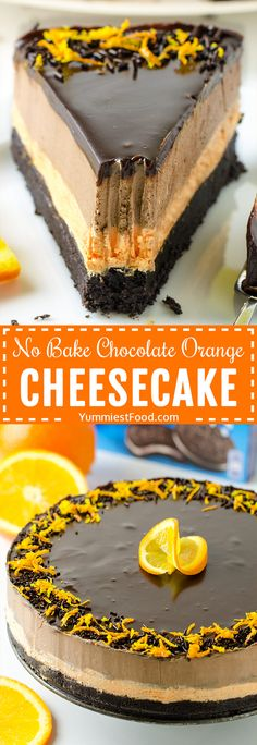 NO BAKE CHOCOLATE ORANGE CHEESECAKE - rich, moist and flavorful cheesecake! If you love chocolate and orange together, this cake is for you! recipes for two recipes fry recipes Orange Cheesecake Recipes, Chocolate Orange Cheesecake, Chocolate Desserts, Orange Recipes, Homemade Cheesecake, Classic Cheesecake, Baking Chocolate, Cheesecake Desserts, Blueberry Recipes