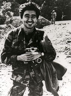 Keizaburo Shimamoto (1937-1971) Japanese war photographer. Killed when the helicopter he was in along with photojournalists, Larry Burrows, Henri Huet and Kent Potter, was shot down while reporting on 'Operation Tiger's Mouth', a massive armoured invasion of Laos by South Vietnamese forces against the Vietnam People's Army and the Pathet Lao.