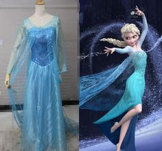 $175 Disney New Moive Frozen The Snow Queen Elsa Dress Made Cosplay Costume