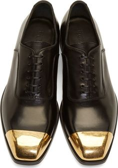 Alexander Mcqueen: Black Leather Toe Cap Oxfords