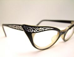 Stunning Catseye 1950s   BLACK and Silver  EYEGLASSES  Marine Brand USA. $79.00, via Etsy.