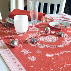 Chemin de table collection automne hiver 2015 par Garnier-Thiebaut - Modèle : Nuit de Noël - Chemin de table en coton - Coloris : rouge
