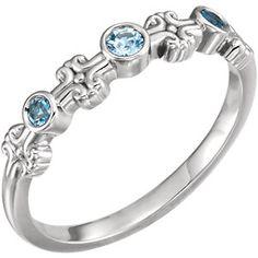 14K White Aquamarine Bezel Set Ring