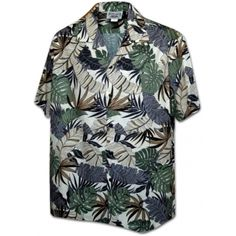 chemise hawaienne ...Cream leaves