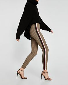 CHECKED LEGGINGS WITH SIDE STRIPES from Zara