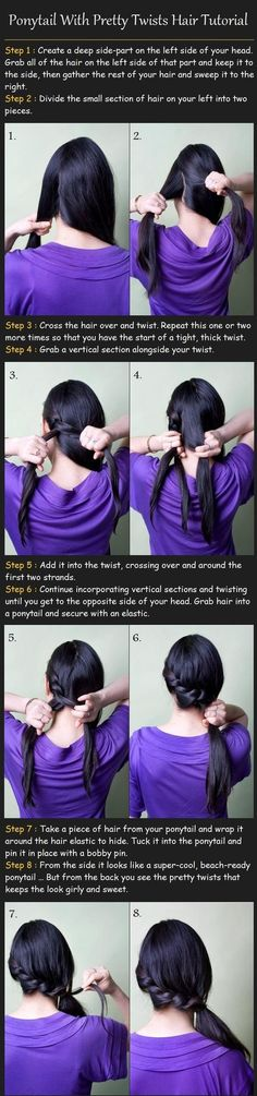 Ponytail With Twists Hair Tutorial- just tried this and it was super easy