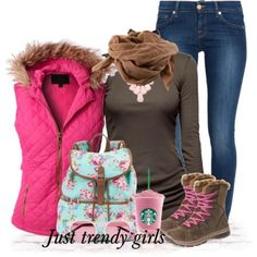 pink puffer vest girly outfit, Winter outfits in latest trends http://www.justtrendygirls.com/winter-outfits-in-latest-trends/