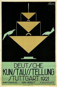 bleistift-und-radiergummi:    Rudolf Brackenhammer Illustration 'Deutsche Kunstausstellung' 1921