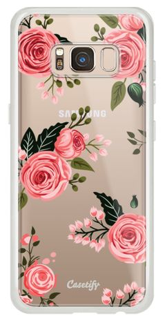 1db35bb36c Classic Snap Samsung Galaxy S8 Case - Pink Floral Flowers and Roses Chic  Feminine Transparent Case 008