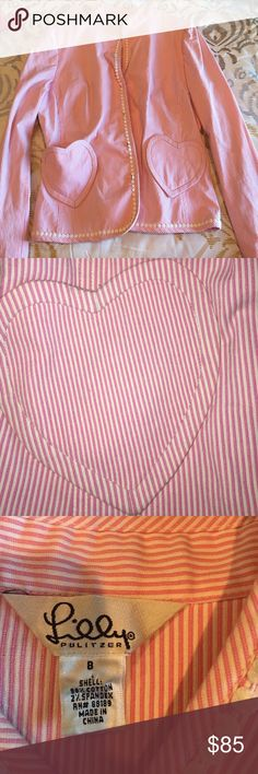 Just In Lilly Pulitzer blazer Adorable pink pin stripes Lilly Pulitzer jacket/blazer. So cute and perfect for any occasion! The heart pocket detailing makes this jacket even cuter! In excellent pre loved condition! NO TRADES BUT OPEN TO OFFERS Lilly Pulitzer Jackets & Coats Blazers