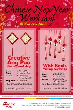 How about doing some CNY crafts and hang it at home this year?  Join our CNY workshops now!