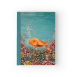 Hardcover Journal, stationery,school,supplies,cool,unique,fancy,trendy,awesome,beautiful,design,unusual,modern,artistic,for,sale,items,products,office,organisation, blue, turquoise, fish, redbubble