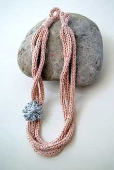 Handmade knitted necklace in salmon white colour by FunkyDonkey, €15.00
