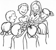"""Human Knot: Everyone stands in a circle and puts their right hand into the middle. They clasp hands with someone across the circle. Then, everyone puts their left hand into the middle of the circle and clasps the hand of a *different* person. The group is now in a """"knot"""". The object is for the group to untangle itself without releasing anyone's hand."""