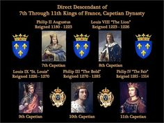 Direct Descendant of 7th through 11th Kings of France, Capetian Dynasty.  My 22nd to 26th Great Grandfathers.