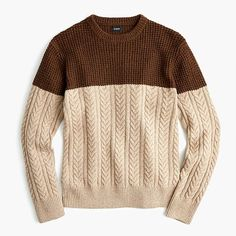 Crew for the Rugged merino wool mixed-knit crewneck sweater for Men. Find the best selection of Men Clothing available in-stores and online. Cable Sweater, Men Sweater, Crewneck Sweater, Merino Wool, J Crew, Crew Neck, Mens Fashion, Pullover, Knitting