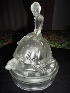 Very Scarce Art Deco White Girl on Turtle Depression Glass Flower Frog Figurine