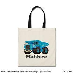 Kids Custom Name Construction Dumper Truck Budget Tote Bag from #TruckStore