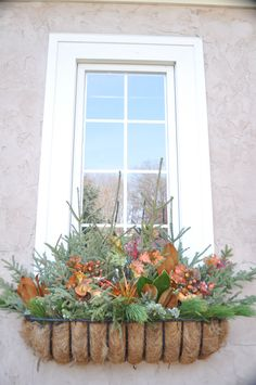 Fall window box-would be easy to change into winter