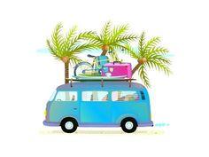 Holiday vacation Trip Bus with Palms Graphics Touristic blue adventure bus with luggage. Summer holidays cartoon illustration for kids. Vector car by Popmarleo Shop Bus Cartoon, Cartoon Art, Beach Cartoon, Bus Art, Holiday Cartoon, Police Truck, Watercolor Girl, Woodland Christmas, Hippie Art