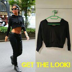 Black crop top hoodie Short soft hoodie, 100% cotton, 3/4 length sleeves, machine wash warm, iron low. Very comfy. Tops Sweatshirts & Hoodies