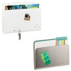 The Container Store > Magnetic Wall Pocket - maybe a way to organize mail/bills in my kitchen! Cubicle Organization, Office Organization At Work, Folder Organization, Organization Station, Craft Organization, Organizing, Classroom Organization, Dorm Space Savers, Wall File