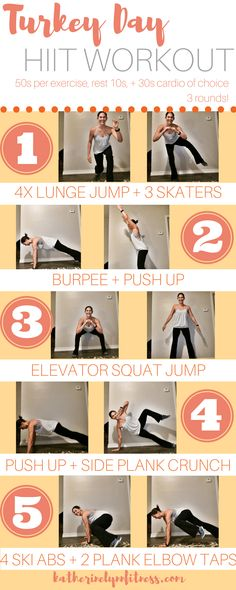 This workout will be performed in a circuit style and works your full body. You will do each bodyweight strength exercise for 50 seconds, rest for 10 seconds, and then you'll move into 30 seconds of your cardio move of choice (skipping, high knees, burpees, etc) before transitioning into the next strength exercise. The goal of this style is to combine cardio and strength to maximize your results.