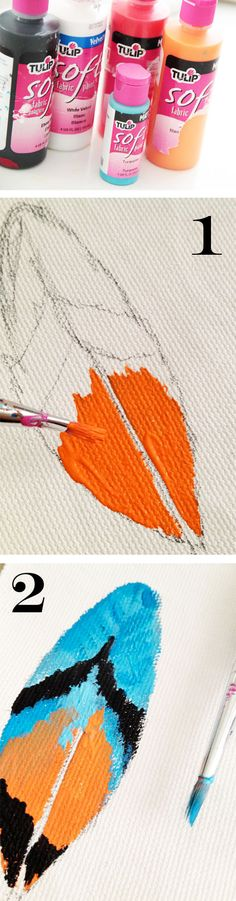 1. I started with a simple sketch of a feather drawn onto fabric. I filled in the feather with Tulip Soft Fabric Paints- they are very versatile and great to use on a variety of fabric surfaces 2. I continued to fill in the feather with colorful details.