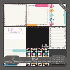 FREE May 2014 Blog Train: Pixel Scrapper digital scrapbooking - Hello free journal cards by Creative Bloom designs