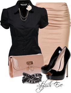 Black champagne. Work wear fashion outfit