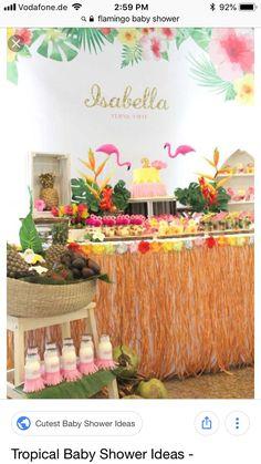 Dessert Table from a Tropical Hawaiian Flamingo Party via Kara's Party Ideas Aloha Party, Moana Birthday Party, Luau Birthday, Luau Party, Birthday Party Themes, Beach Party, Moana Party, Flamingo Party, Flamingo Birthday