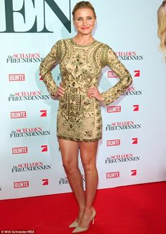 Opulent: Cameron Diaz stole the show at the Munich premiere of The Other Woman in this eye-catching gold minidress