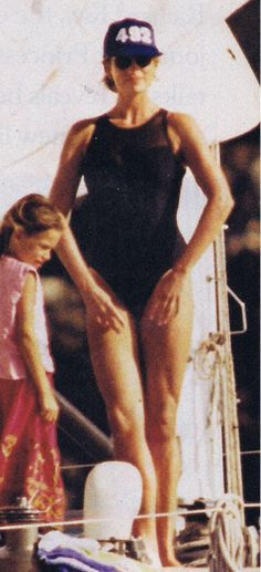 Diana the Ballerina in a black bathing suit.