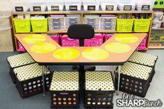 Love this teacher table organization!