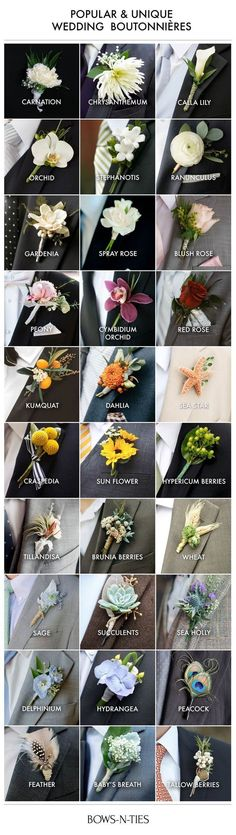 Here's an amazing guide to boutonnieres that not only lists the most popular and unique options but also breaks them down by wedding theme. #weddingplanningguide