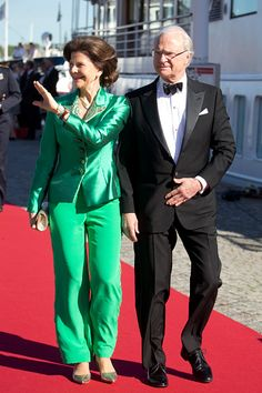 King Carl Gustaf, and Queen Silvia of Sweden, arrive to board the S/S Stockholm to travel to a private dinner on the eve of The Wedding of Prince Carl Philip of Sweden, and Sofia Hellqvist, on June 12th, 2015 in Stockholm, Sweden