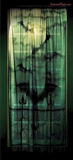 Lace decor window panel is part of Gothic decor Window - Woven polyester lace window cover with bat and spider web pattern Measures 40 inches x 84 inches Spooky House, Halloween Window, Halloween Party, Halloween Stuff, Halloween Ideas, Halloween Customs, Halloween Bedroom, Halloween Week, Haunted Halloween