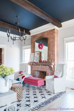 Inside Our Colorful, Whimsical & Elegant Valentine's Day Living Room... Take a peek inside our 1905 historic home all decked out with Valentine's decor from HomeGoods! Sponsored by HomeGoods. #sponsored