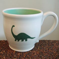 Dinosaur Mug  Large Brontosaurus Stoneware Pottery by KarinLorenc, $36.00