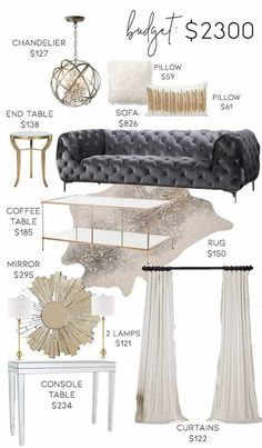 3 Neutral Glam Living Room Designs on 3 Different Budgets Room, Room Design, Glam Living Room Decor, Glam Room, Bedroom Design, Living Room On A Budget, Apartment Decor, Glam Living, Living Decor