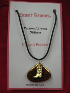 Aromatherapy pendant trimmed in gold necklace $17.99