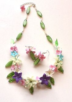 Colourful necklace and earrings Lily necklace and by insou on Etsy, $30.00